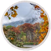 Framed By Fall Round Beach Towel
