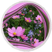Framed Cosmos Round Beach Towel
