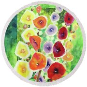 Round Beach Towel featuring the painting Framed In Hollyhocks by Kathy Braud