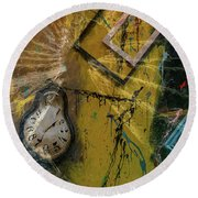 Round Beach Towel featuring the digital art Framed Time by Kevin Blackburn