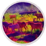 Franca Cattle 1 Round Beach Towel
