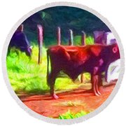 Franca Cattle 2 Round Beach Towel