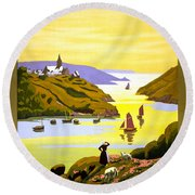 France Bretagne Vintage Travel Poster Restored Round Beach Towel