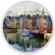 Round Beach Towel featuring the photograph France Fishing Village by Claire Bull