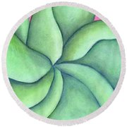 Frangipani Green Round Beach Towel