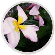 Round Beach Towel featuring the digital art Frangipani Moment by Winsome Gunning