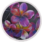Round Beach Towel featuring the pastel Frangipani  by Richard Le Page