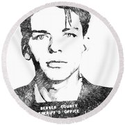 Frank Sinata Bw Portrait Round Beach Towel by Mihaela Pater