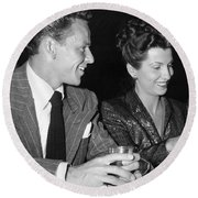 Frank Sinatra And Nancy Round Beach Towel by Underwood Archives