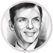 Frank Sinatra Round Beach Towel by Greg Joens