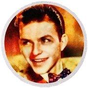 Frank Sinatra, Hollywood Legend By John Springfield Round Beach Towel by John Springfield