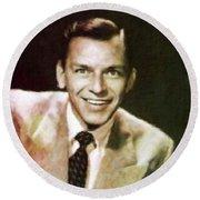 Frank Sinatra, Hollywood Legend By Mary Bassett Round Beach Towel by Mary Bassett