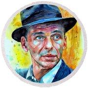 Frank Sinatra In Blue Fedora Round Beach Towel