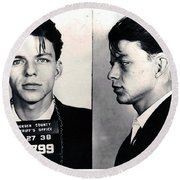 Frank Sinatra Mug Shot Horizontal Round Beach Towel by Tony Rubino