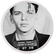 Frank Sinatra Mugshot Round Beach Towel by Jon Neidert