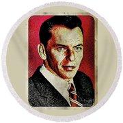 Frank Sinatra Pop Art Round Beach Towel by Mary Bassett