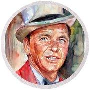 Frank Sinatra Portrait Round Beach Towel