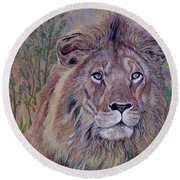 Round Beach Towel featuring the painting Frank by Tom Roderick