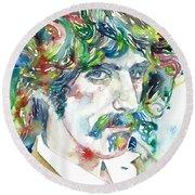 Frank Zappa Portrait Round Beach Towel