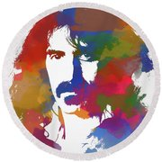 Frank Zappa Watercolor Round Beach Towel