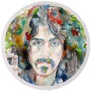 Frank Zappa - Watercolor Portrait.8 Round Beach Towel