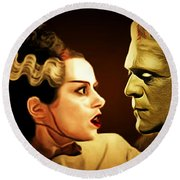 Frankenstein And The Bride I Have Love In Me The Likes Of Which You Can Scarcely Imagine 20170407 Round Beach Towel