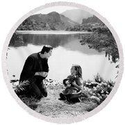 Frankenstein By The Lake With Little Girl Boris Karoff Round Beach Towel