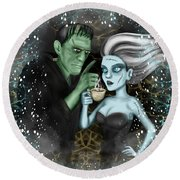 Frankenstien Fantasy Art Round Beach Towel