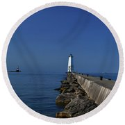Frankfort Lighthouse In Michigan Round Beach Towel