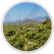 Franklin Mountains State Park Facing North Round Beach Towel by Allen Sheffield