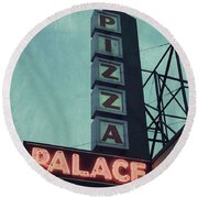 Round Beach Towel featuring the photograph Frank's Pizza Palace by Joel Witmeyer