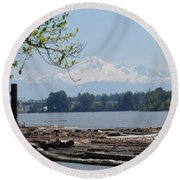 Fraser River And Mount Baker Round Beach Towel