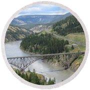 Fraser River Bridge Near Williams Lake Round Beach Towel