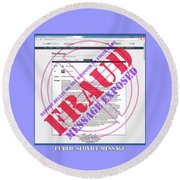 Round Beach Towel featuring the digital art Fraud Email Exposed by Barbara Tristan