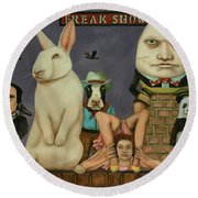 Round Beach Towel featuring the painting Freak Show by Leah Saulnier The Painting Maniac