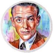 Fred Astaire Painting Round Beach Towel