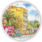 Fred Hayman Building, Cannon Dr And Clifton, Beverly Hills, Ca Round Beach Towel