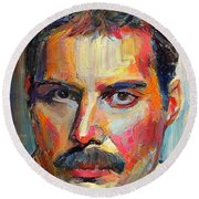Freddie Mercury Colorful Portrait Round Beach Towel