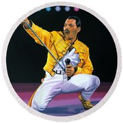 Freddie Mercury Live Round Beach Towel by Paul Meijering