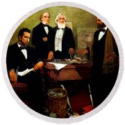 Frederick Douglass Appealing To President Lincoln Round Beach Towel