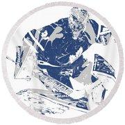 Frederik Andersen Toronto Maple Leafs Pixel Art 5 Round Beach Towel