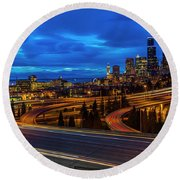 Freeway 5 North To Seattle Round Beach Towel