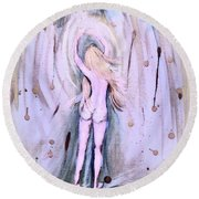 Free Girl Round Beach Towel