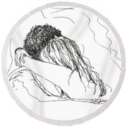 Round Beach Towel featuring the drawing Free Hugs Bw by Denise Fulmer