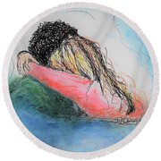 Round Beach Towel featuring the mixed media Free Hugs by Denise Fulmer