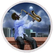 Free Jazz Moon Round Beach Towel