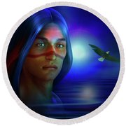Round Beach Towel featuring the digital art Free  Spirit 3 by Shadowlea Is
