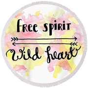 Free Spirit Wild Heart Watercolor Round Beach Towel