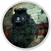 Freedom Train Two Round Beach Towel by Evie Carrier