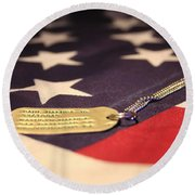 Round Beach Towel featuring the photograph Freedom's Price by Laddie Halupa